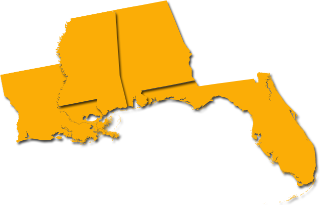 MS, AL, FL, and AR state outlines